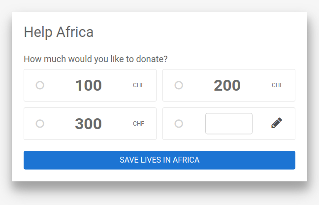 DonationWidget example customAmount